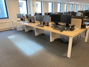 Used Senator/Torasen 1200mm wide bench desk positions with oak tops and white frames