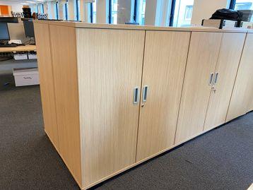 Used Senator double door oak cupboards with shelves