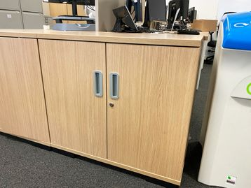Used low double door storage cupboards in oak mfc finish