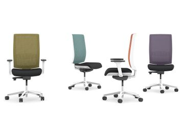 High-back task chairs with white frame