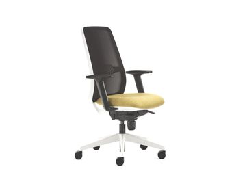 Magnificent budget priced task chair with mesh back, white plastic back surround, upholstered seat and height-adjustable arms.