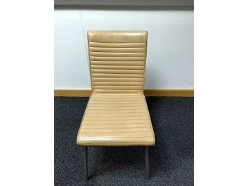 Retro (ish) style lovingly worn used office breakout/cafe chairs in cream ribbed leather upholstery.