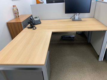 Quality used BENE 'T-Platform' desks with oak mfc tops and silver legs