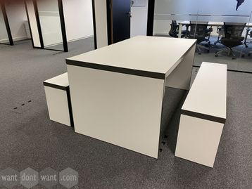 Immaculate used white collaborative table with 2 x matching benches
