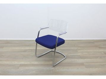 Sitland meeting chairs with clear plastic back and blue upholstered seat and chrome cantilever frame