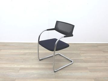 Used Vitra 'Visavis 2' meeting chairs with black plastic back and dark blue upholstered seat