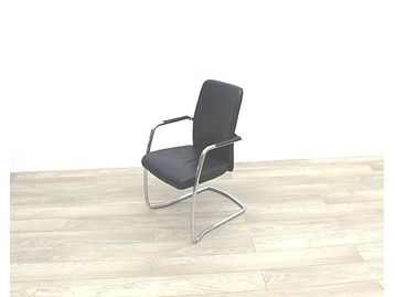 Smart professional used meeting chairs upholstered in quality black hide with chrome cantilever frame
