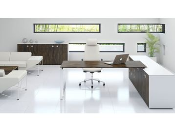 Modern executive contemporary office desks and storage.