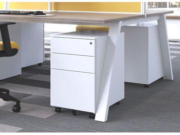 Brand new white under-desk standard size mobile pedestals