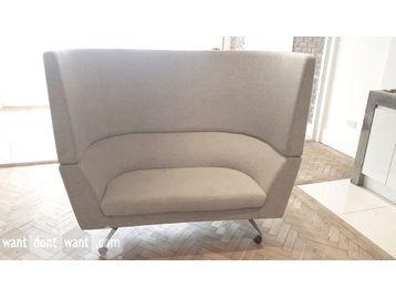 Used Orangebox CWTCH high-back sofa in light grey fabric