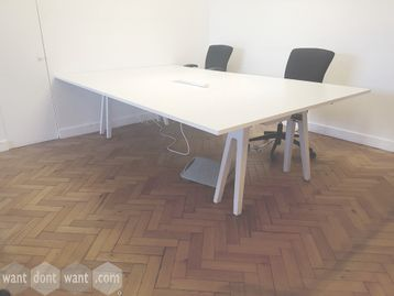 Used Vitra 'Joyn' white meeting table with cable access lid inset to table top