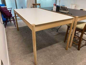 Used Meeting Table with Wooden Legs & White Top