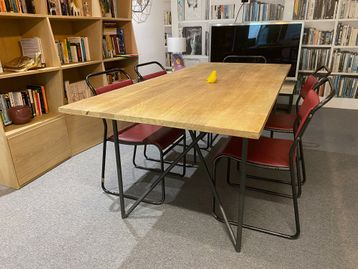 Used 2000mm Table with Solid Top and Industrial Style Frame