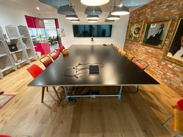 Used 4500mm Black Boardroom Table with Scaffold Style Frame