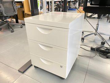 Used White 3 Drawer Under Desk Mobile Pedestals