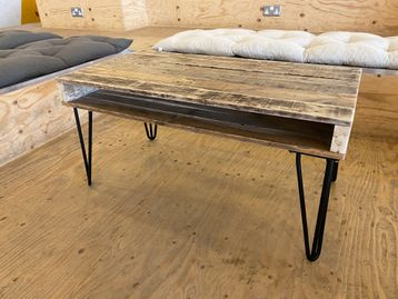 Used Pallet Coffee Table with Black Hairpin Legs