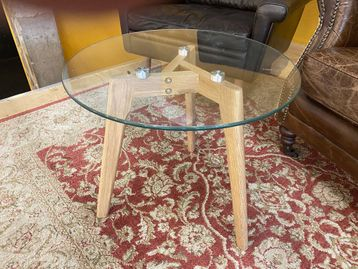 Used Glass Coffee Table with Wooden Legs