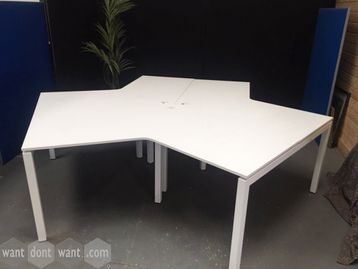 Use 3-person white desk pod with cable ports