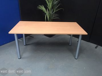 Used beech rectangular desk with grey pole legs.