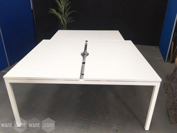 Brand new 2-person 1400mm white back-to-back bench desk