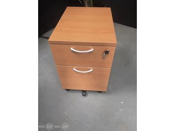 Used cherry mfc 2-drawer mobile pedestals
