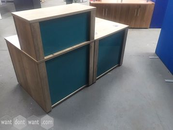 Used reception desk in fab aged oak finish and tinted perspex front panels