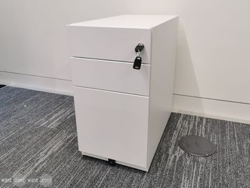Used 3 Drawer Slim White Pedestal