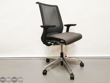 Used Steelcase Think Operator Chairs with Grey Seats and Chrome Base