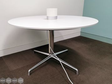 Used Coalesse SW_1 Circular Conference Table with White Top and Chrome Frame