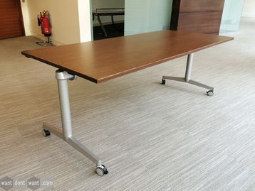 Used Steelcase Flip Top Twin Rectangular Meeting Table on Wheels in Walnut