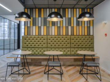 Brand New Circular Cafe Table with Distinctive Triangular Metal Base